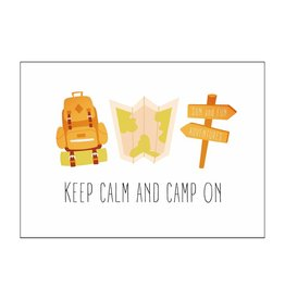 Postkaart Keep calm and camp on