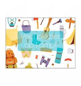 Postkaart Veel plezier op kamp tekening