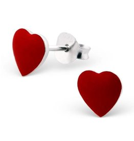 Stekertjes zilver hart rood