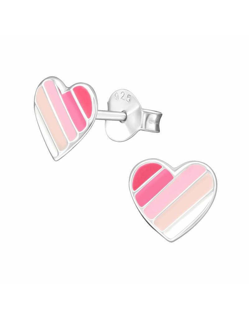Stekertjes zilver hart roze