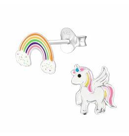 Stekertjes zilver eenhoorn & regenboog