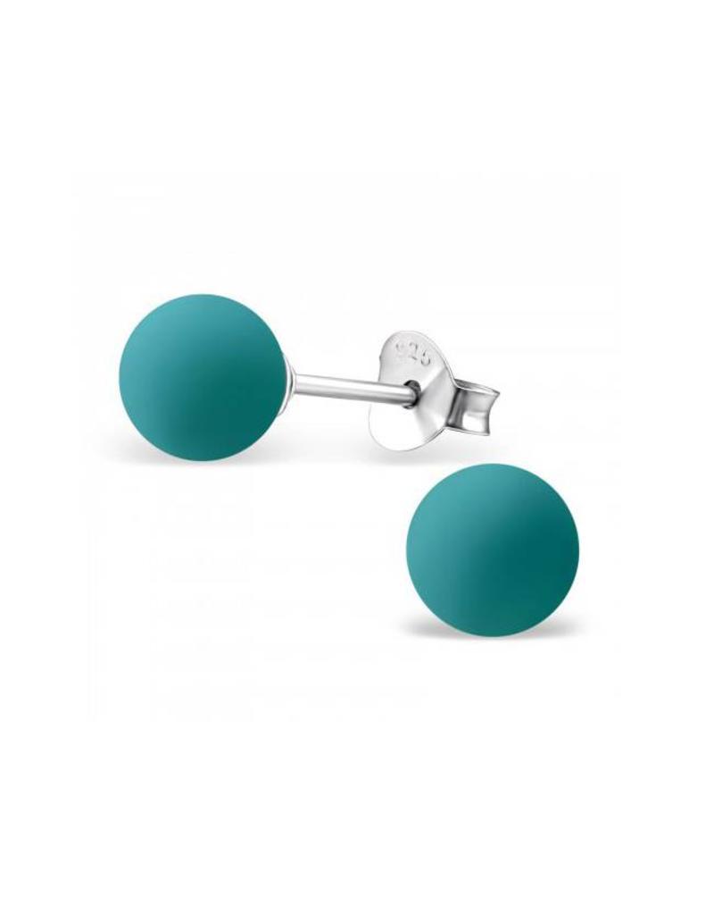 Stekertjes zilver bolletje turquoise