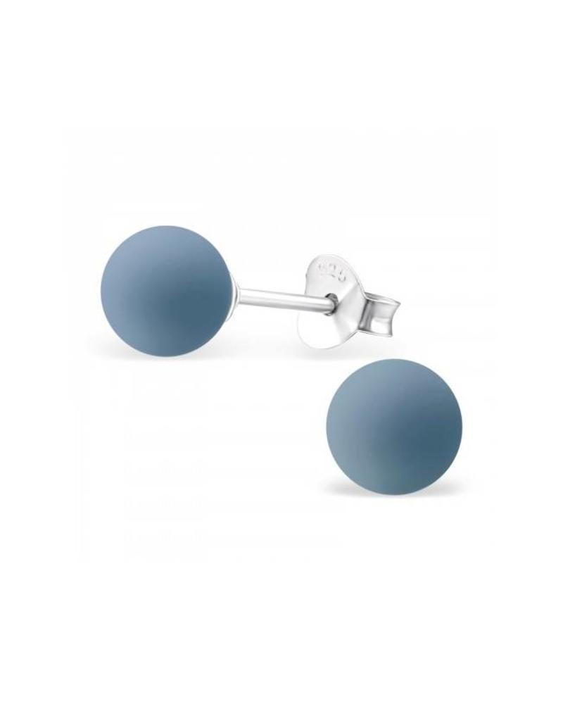 Stekertjes zilver bolletje blauwgrijs