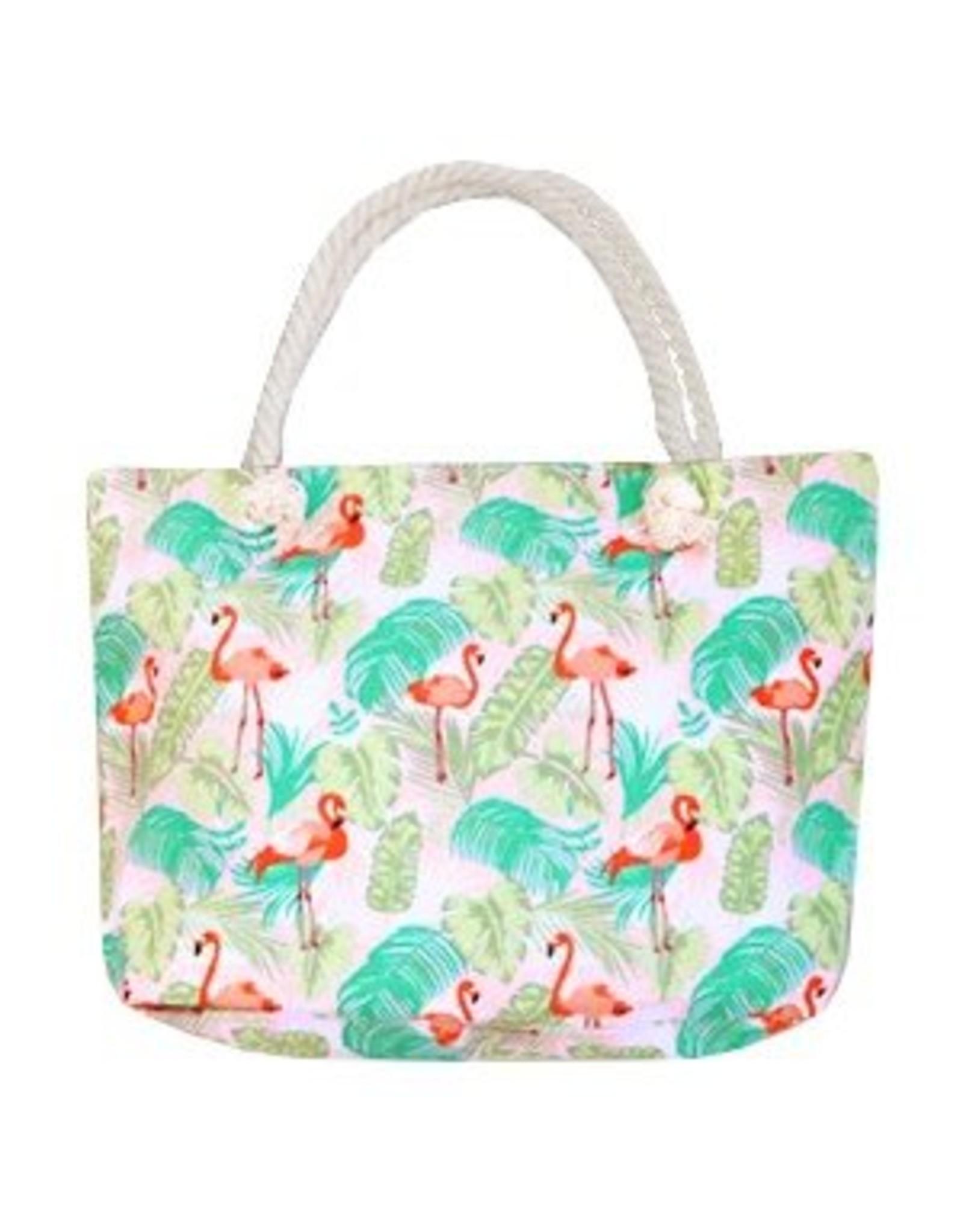 Strandtas / shopper flamingo