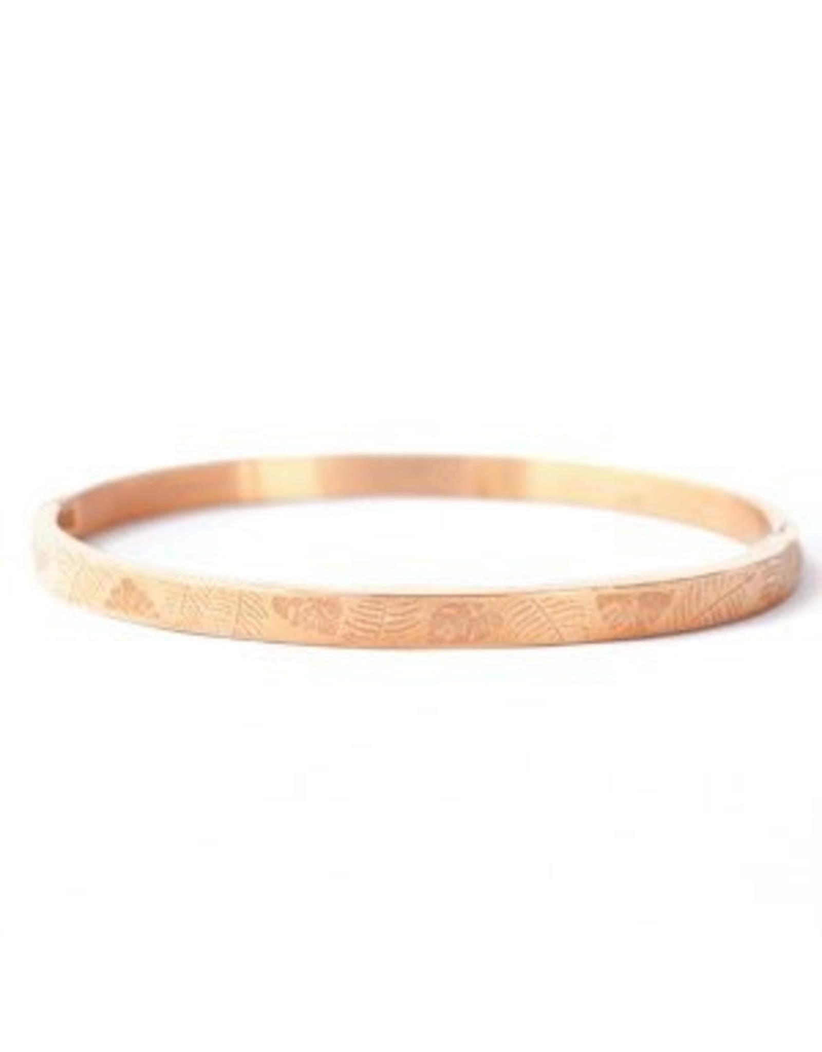Armband RVS bladeren smal rose goudkleurig