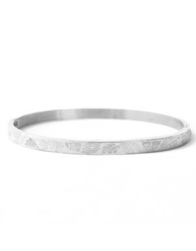 Armband RVS bladeren smal zilverkleurig