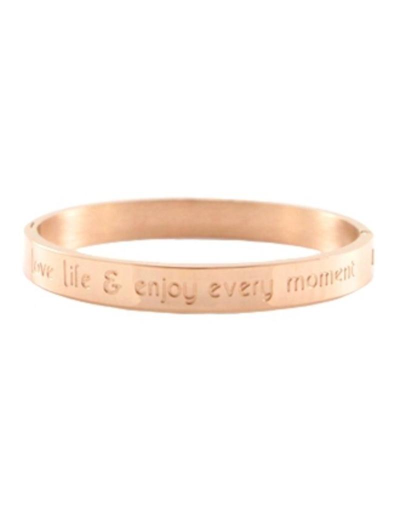 Armband RVS 'love life & enjoy every moment' breed rose goudkleurig