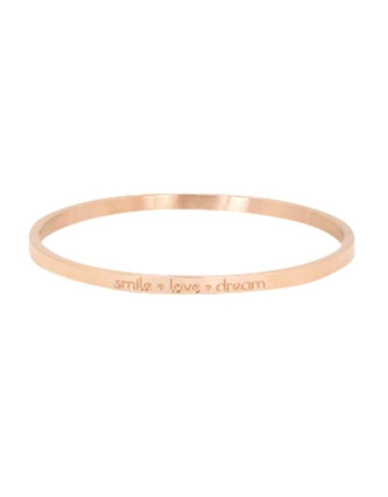 Armband RVS 'smile - love - dream' smal rose goudkleurig