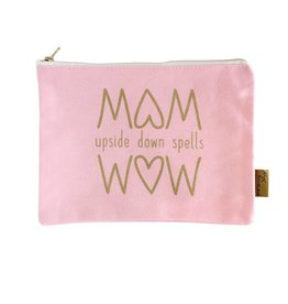 Etui MOM upside down spells WOW roze