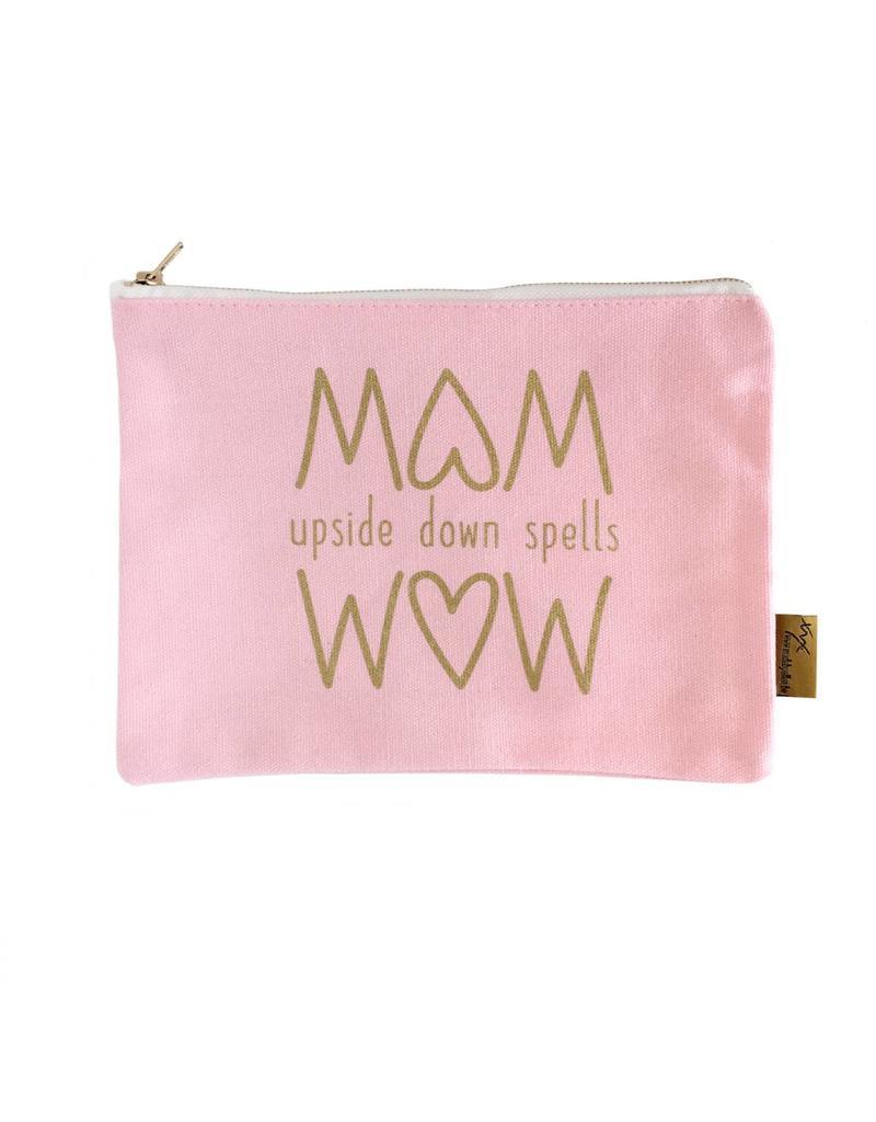 Etui MOM upside down spells WOW roze