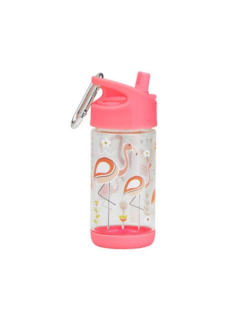 Drinkfles met rietje flamingo