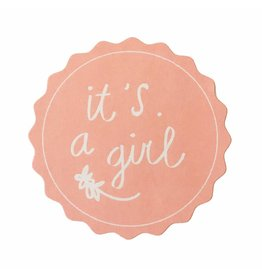 Stickers 5 st. it's a girl roze