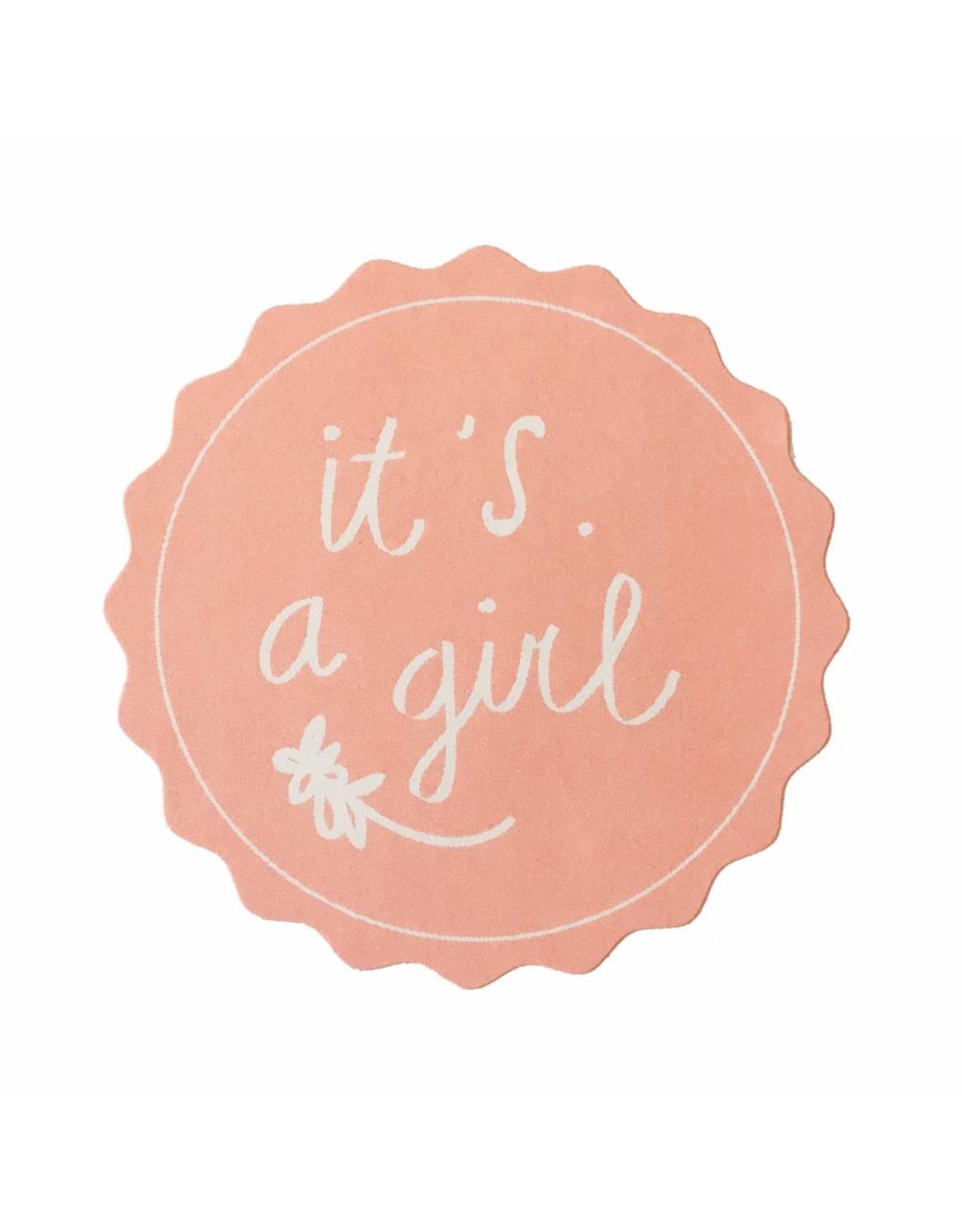 Stickers 5 st. it's a girl roze