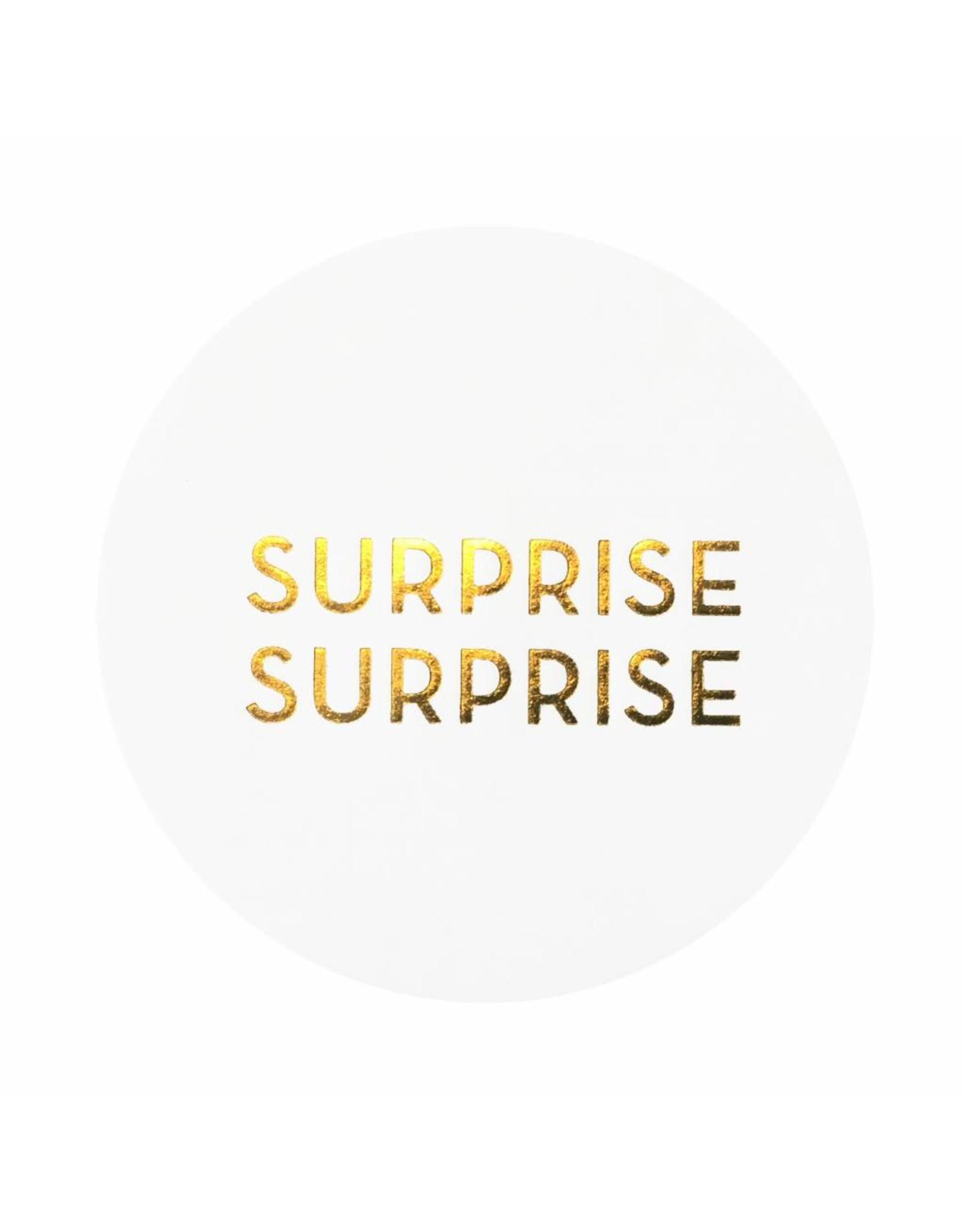 Stickers 5 st. SURPRISE SURPRISE wit/goud