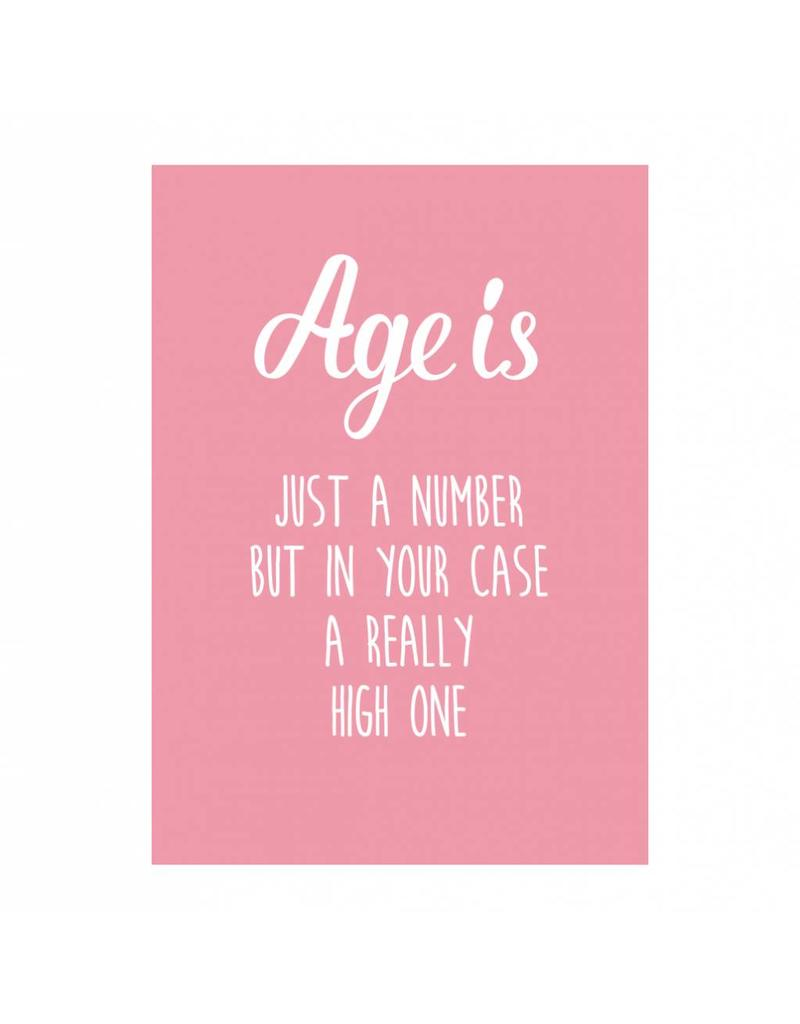 Postkaart Age is just a number roze