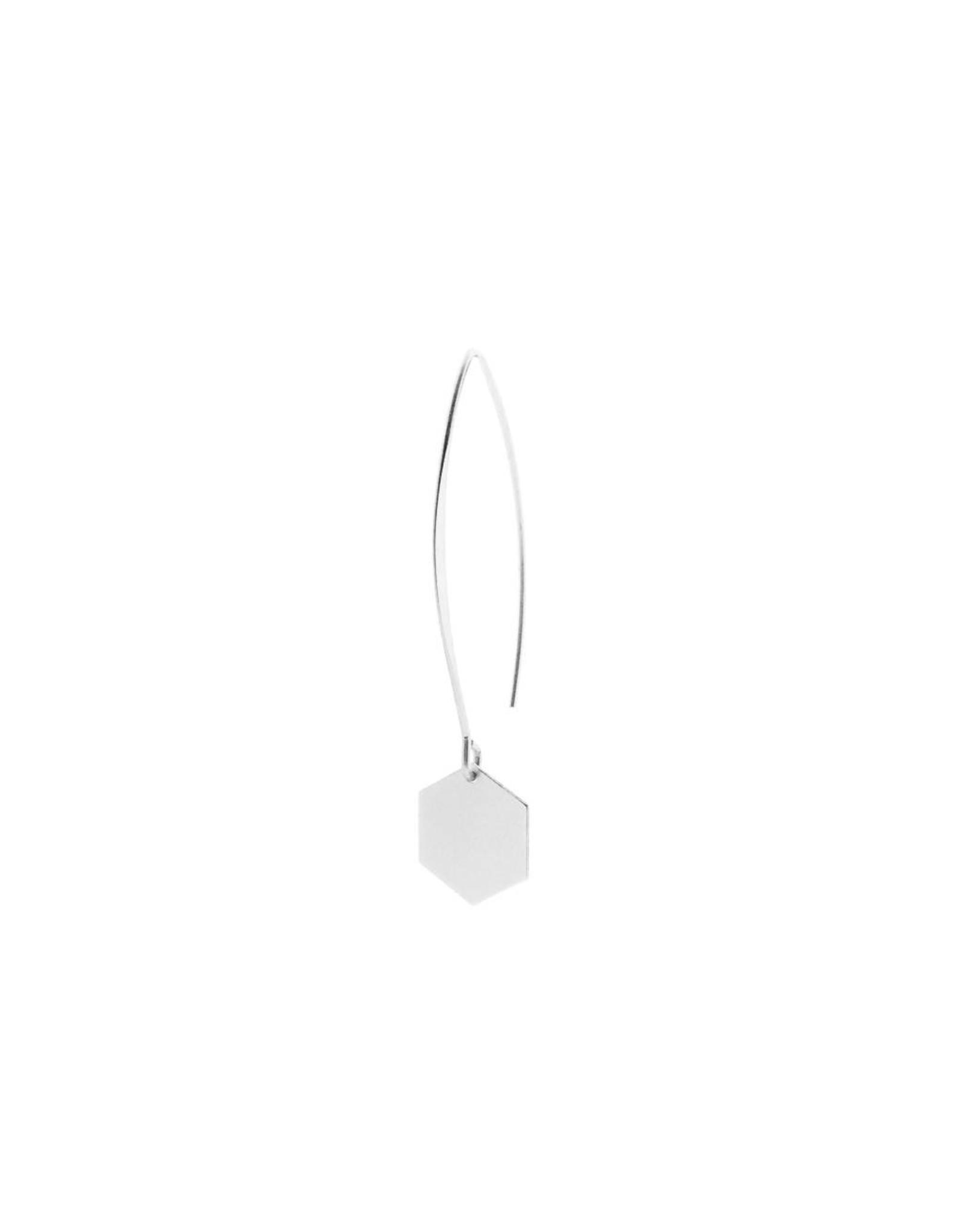 oorbEllen mix&match zeshoekje mat zilver lange hanger zilver
