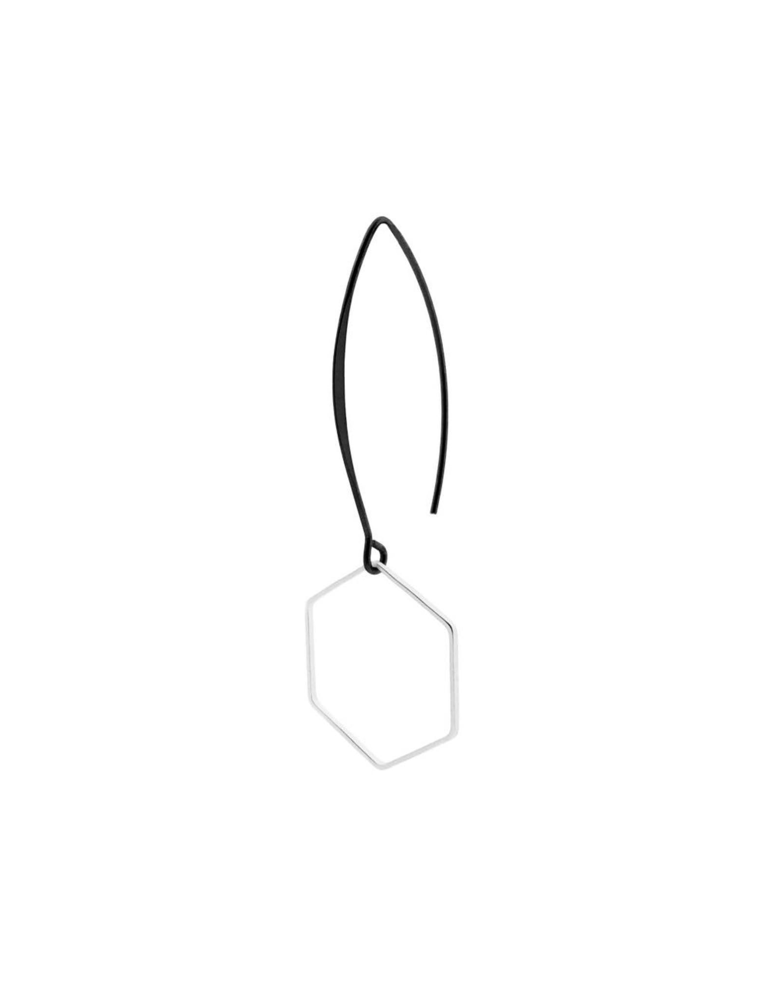 oorbEllen mix&match zeshoek mat zilver lange hanger zwart