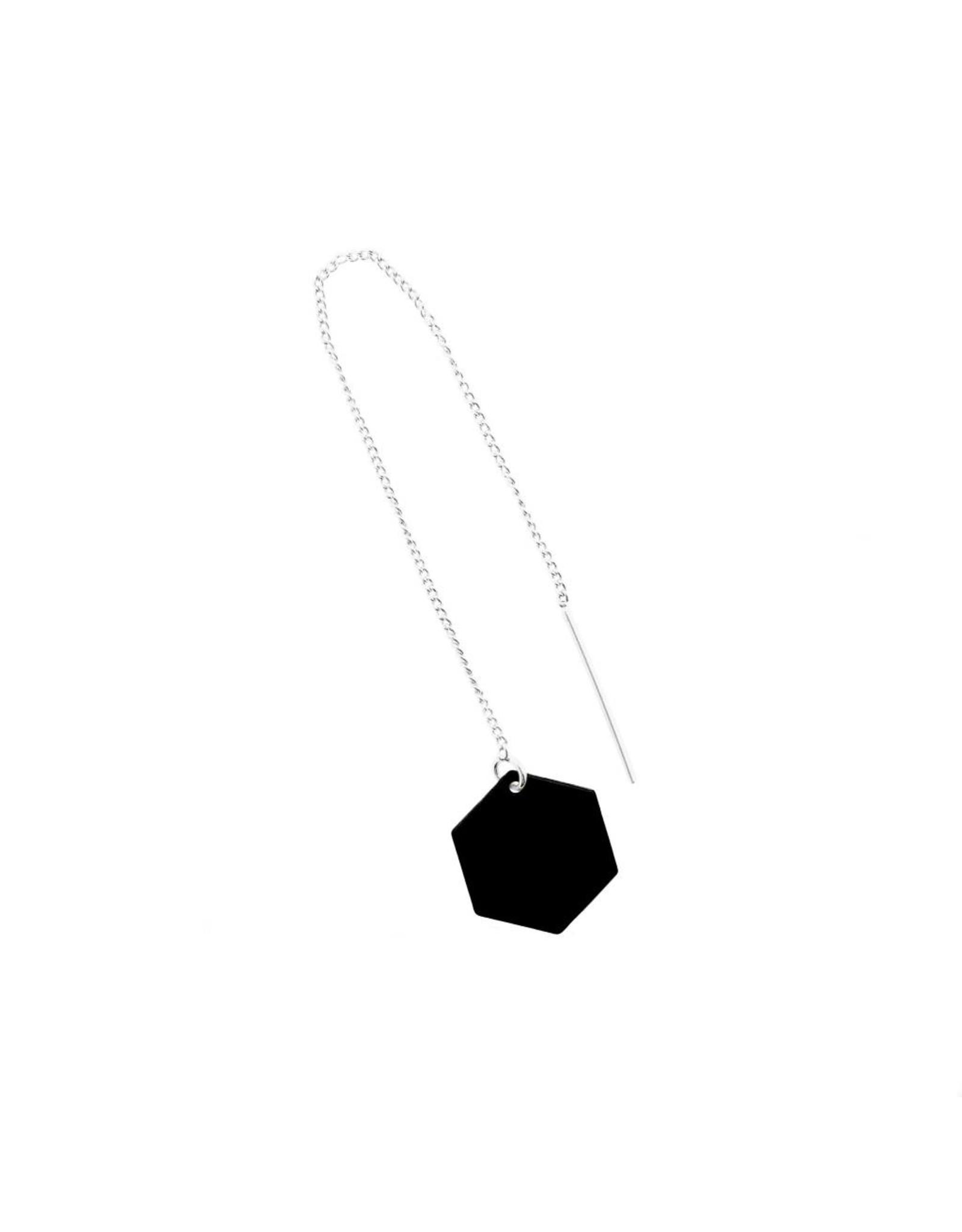 oorbEllen mix&match zeshoekje mat zwart doortrekker zilver