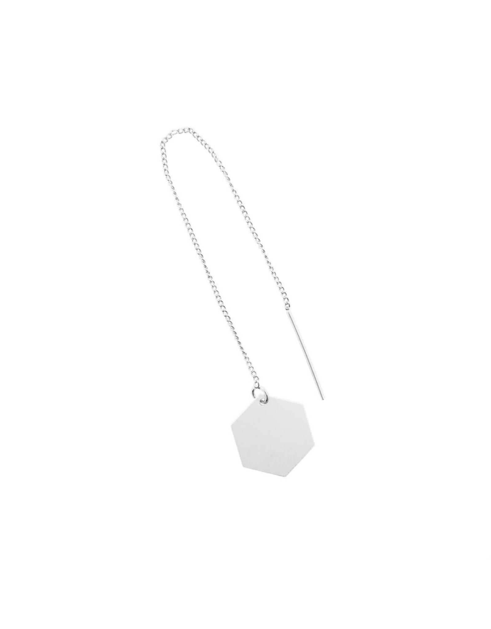 oorbEllen mix&match zeshoekje mat zilver doortrekker zilver
