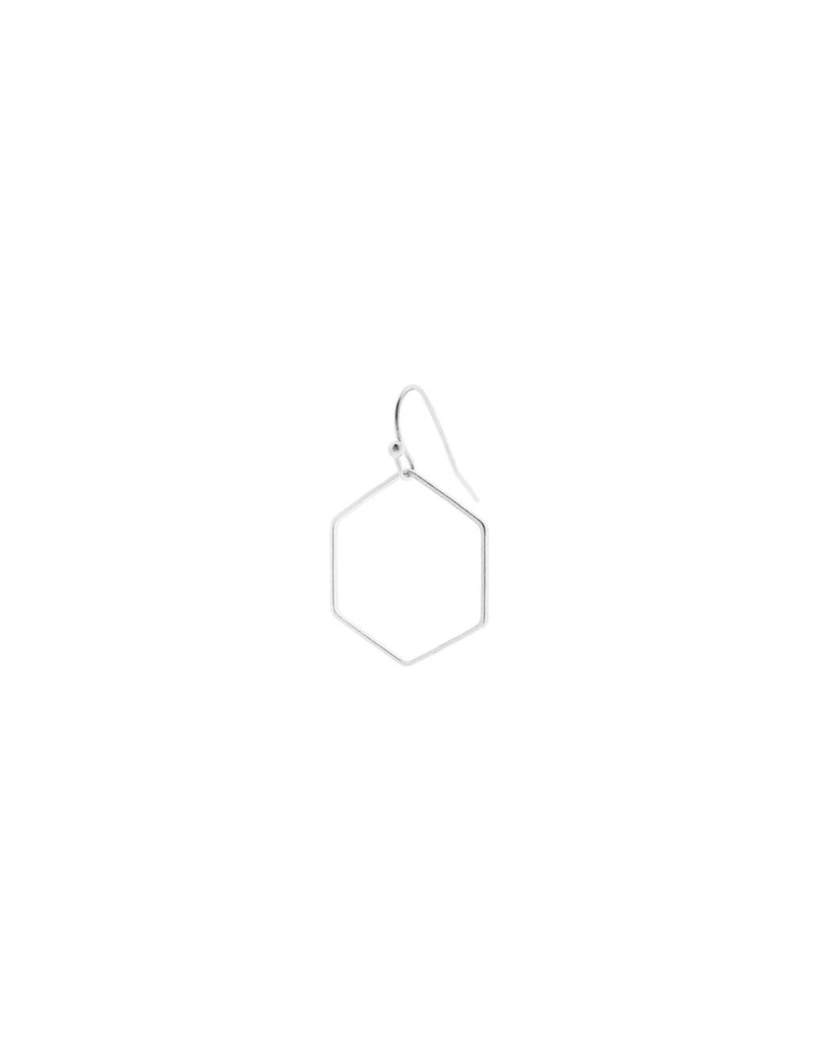 oorbEllen mix&match zeshoek mat zilver korte hanger zilver