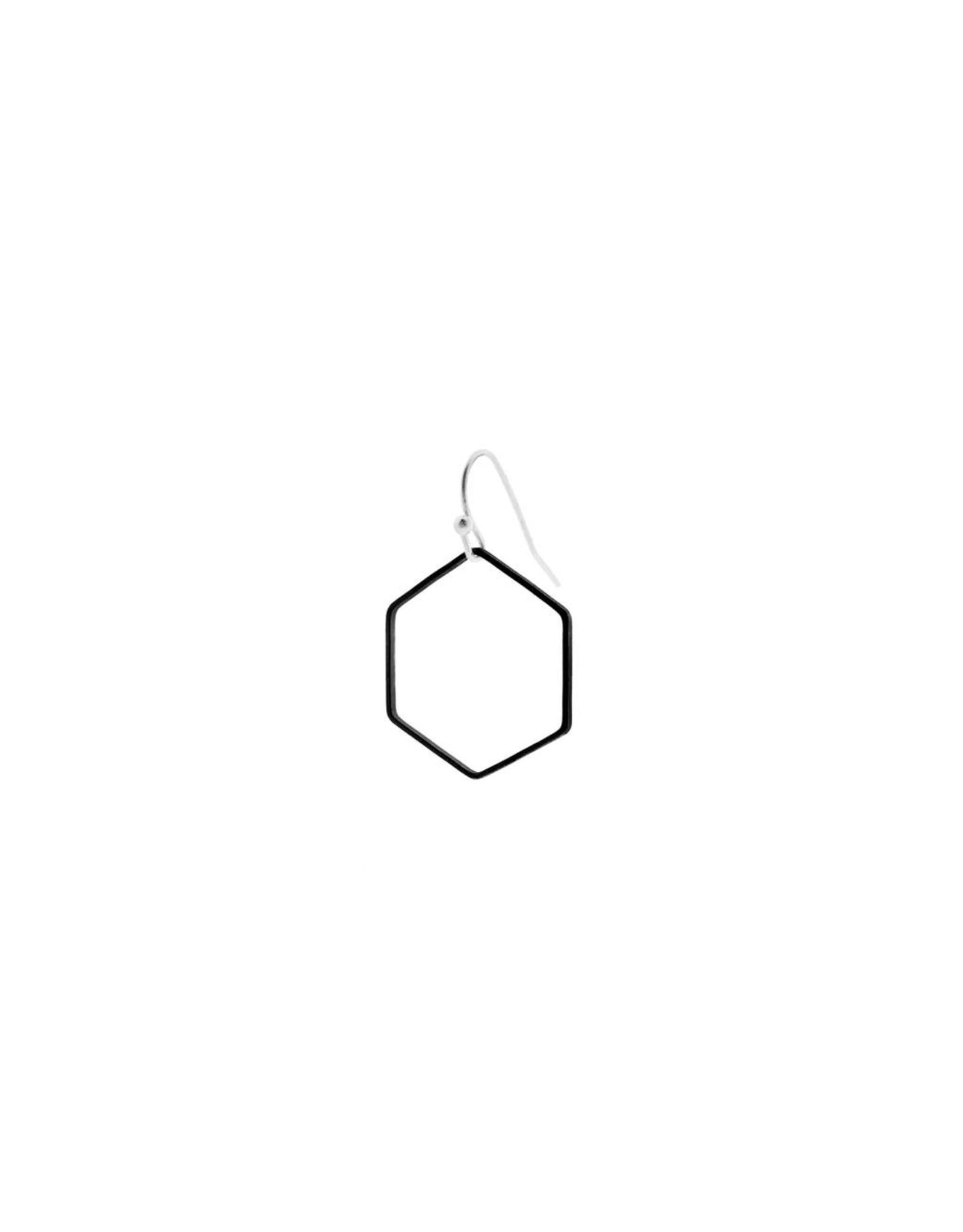 oorbEllen mix&match zeshoek mat zwart korte hanger zilver