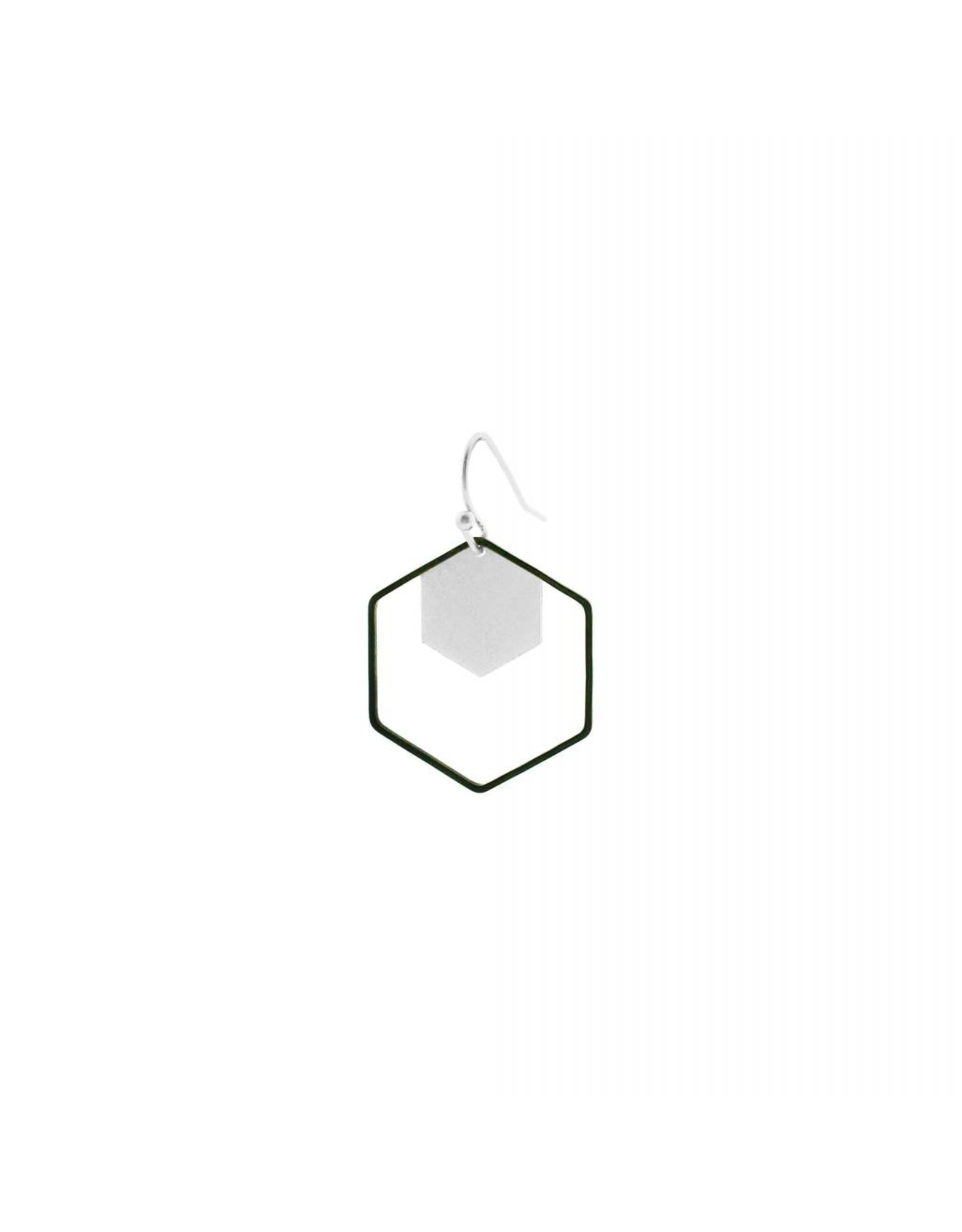 oorbEllen mix&match zeshoeken zilver + zwart