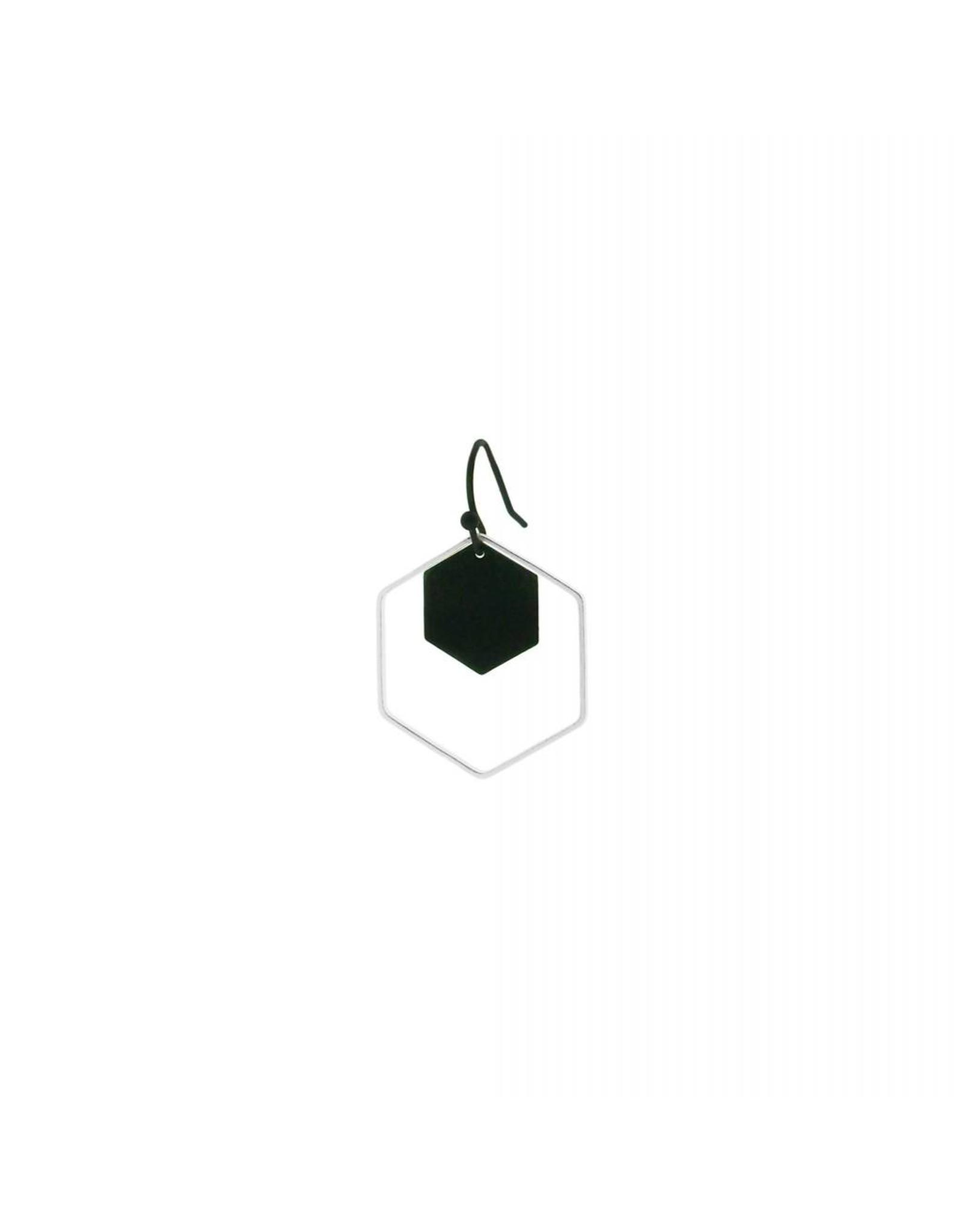 oorbEllen mix&match zeshoeken zwart + zilver