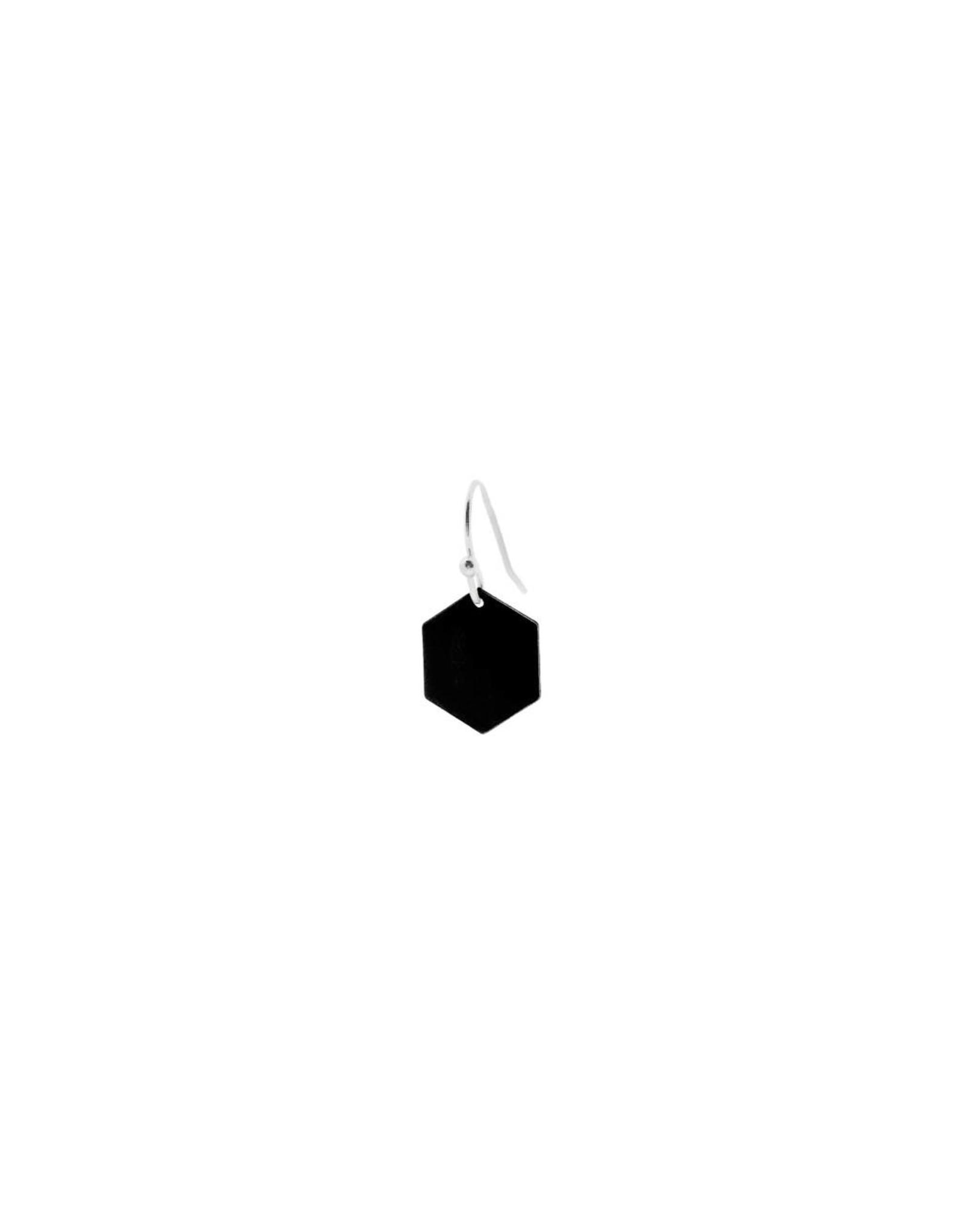 oorbEllen mix&match zeshoekje mat zwart korte hanger zilver