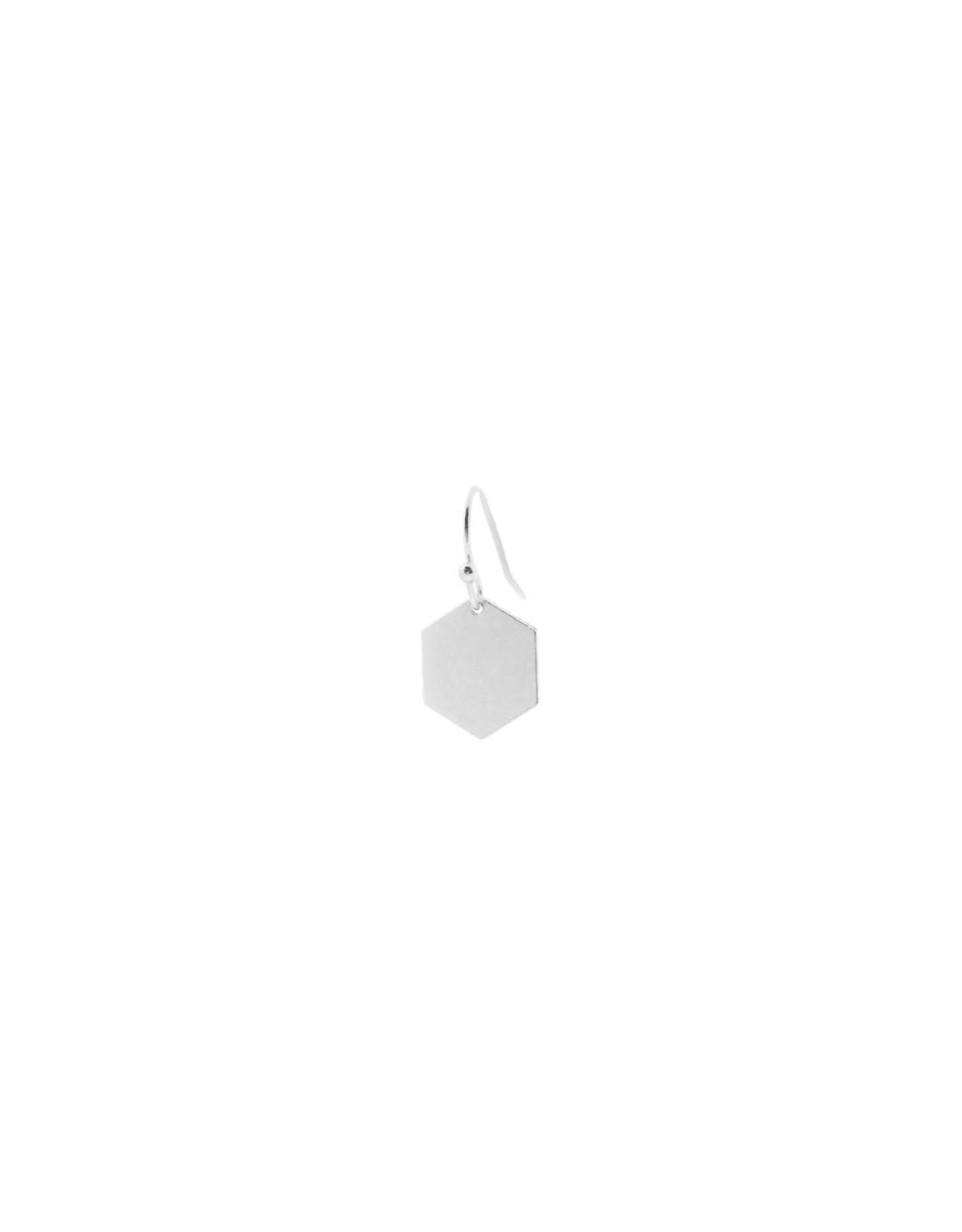 oorbEllen mix&match zeshoekje mat zilver korte hanger zilver