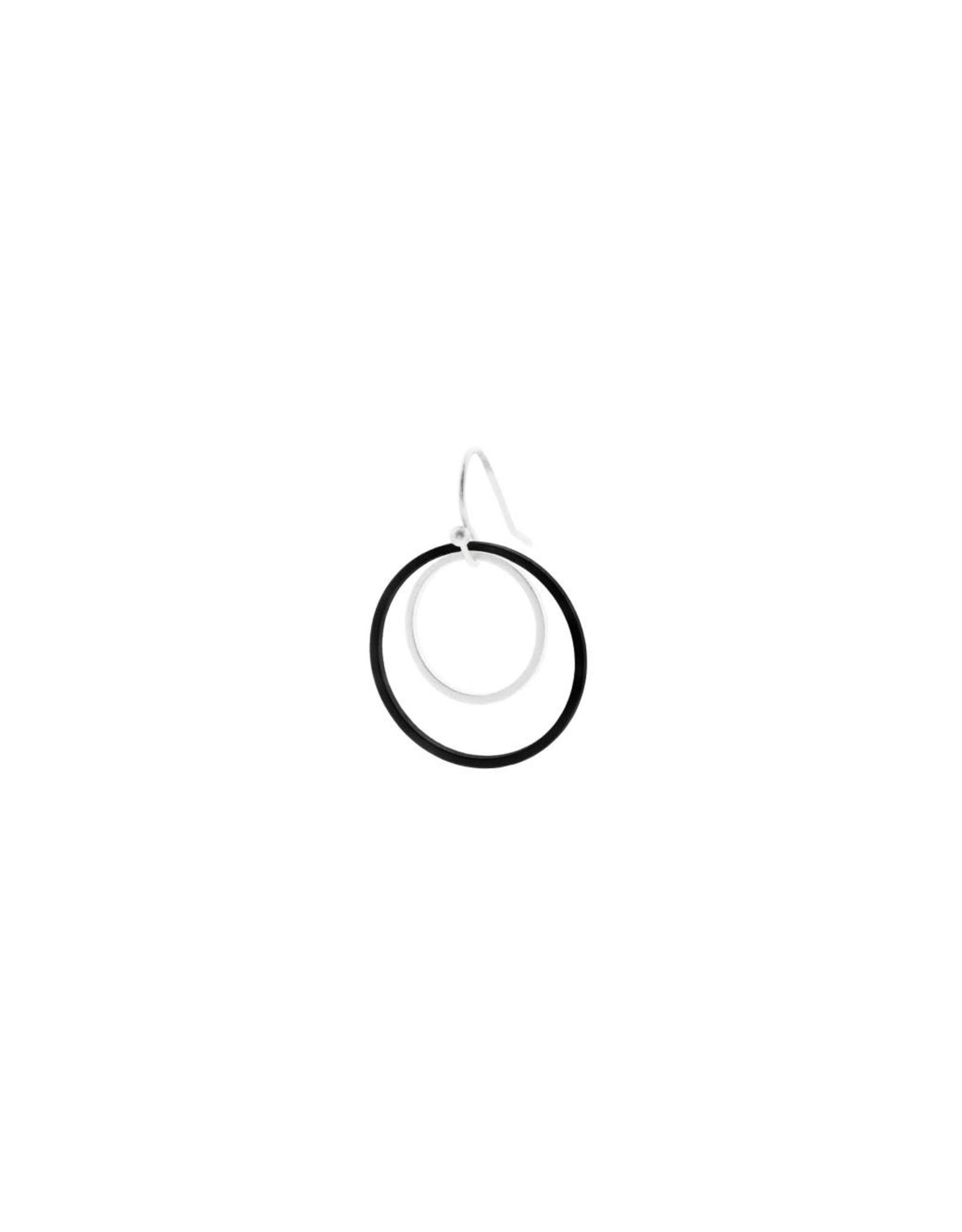 oorbEllen mix&match cirkels dubbel mat zilver + zwart