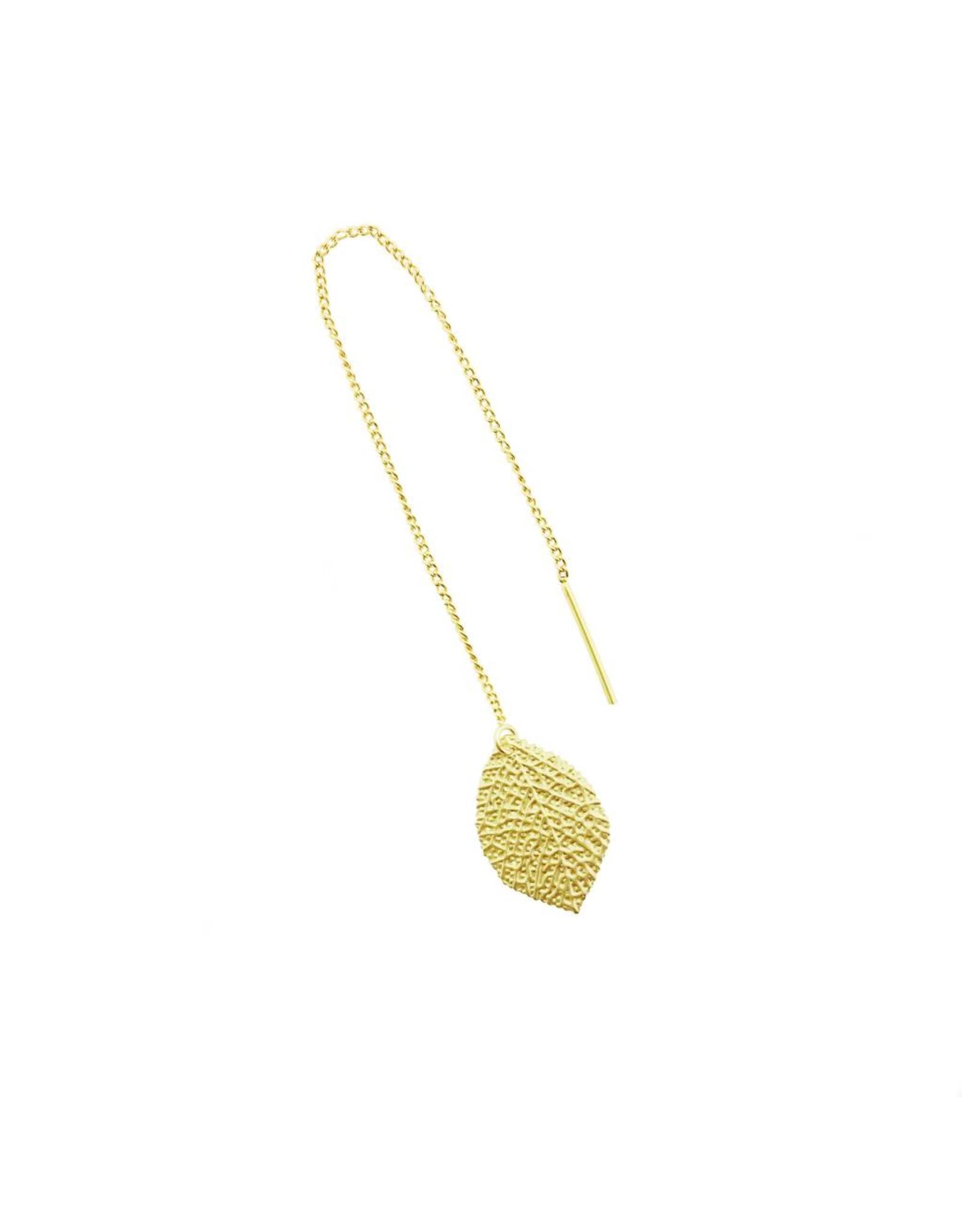 oorbEllen mix&match blaadje generfd mat goud doortrekker goud