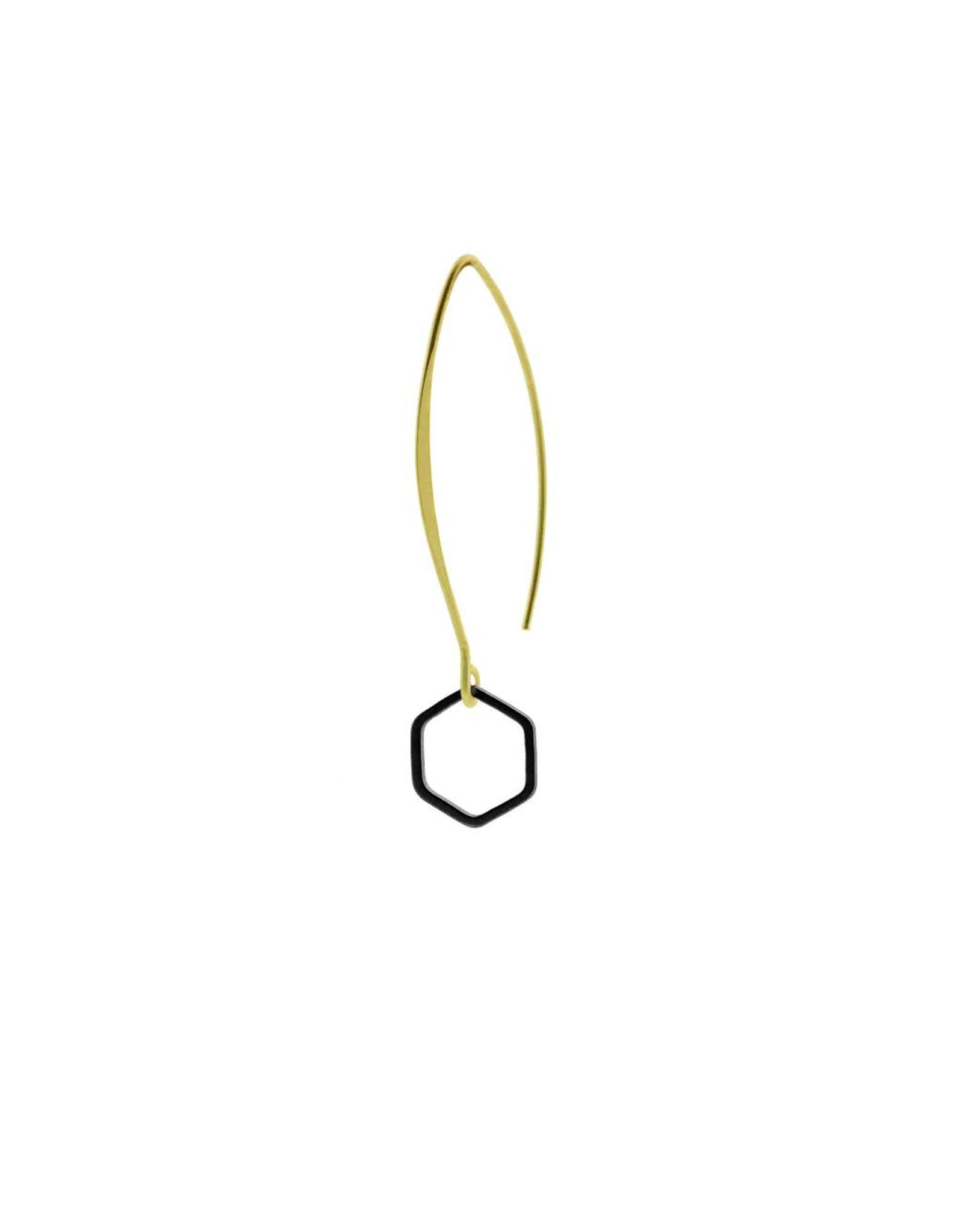 oorbEllen mix&match zeshoekje open mat zwart lang goud