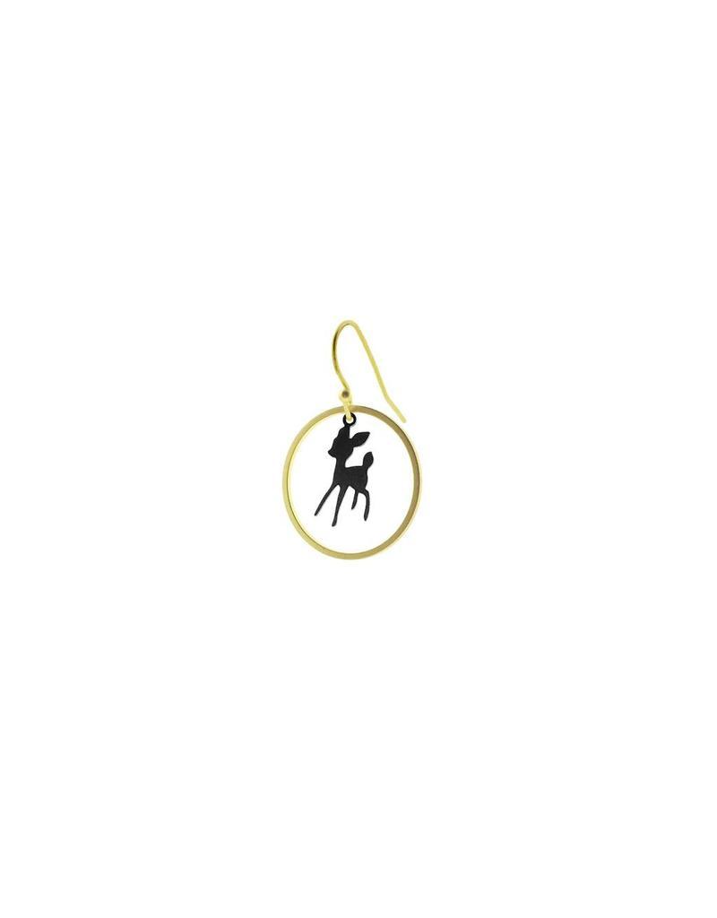 oorbEllen mix&match bambi cirkel mat goud + zwart