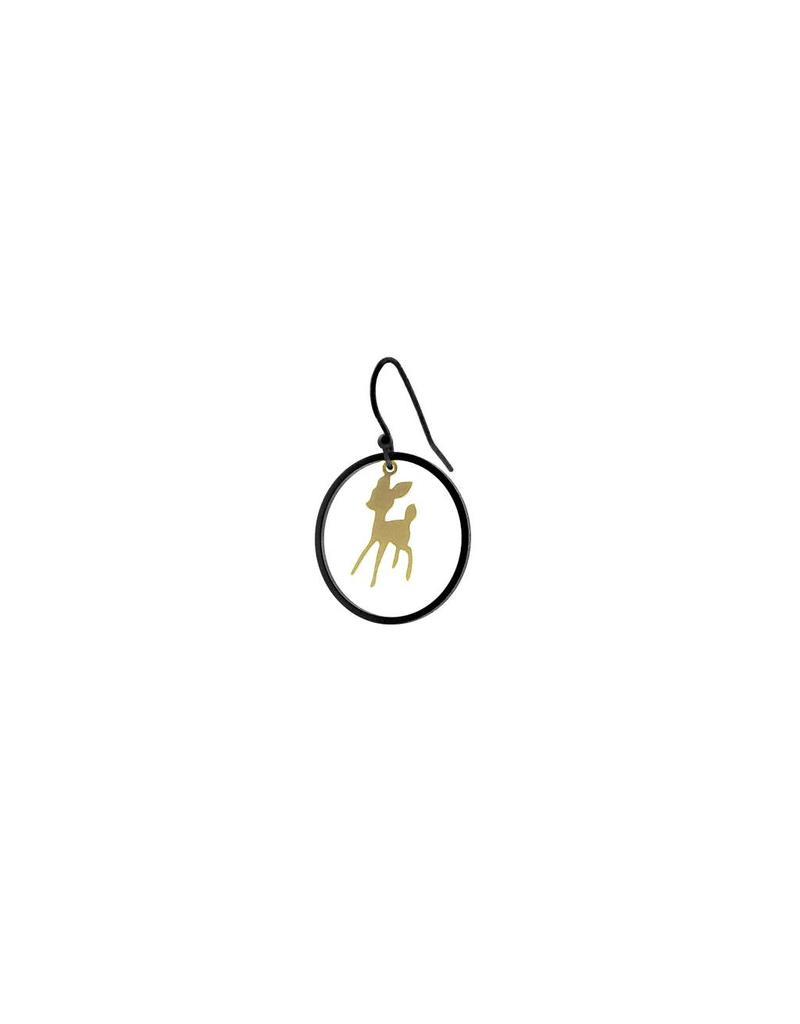 oorbEllen mix&match bambi cirkel mat zwart + goud