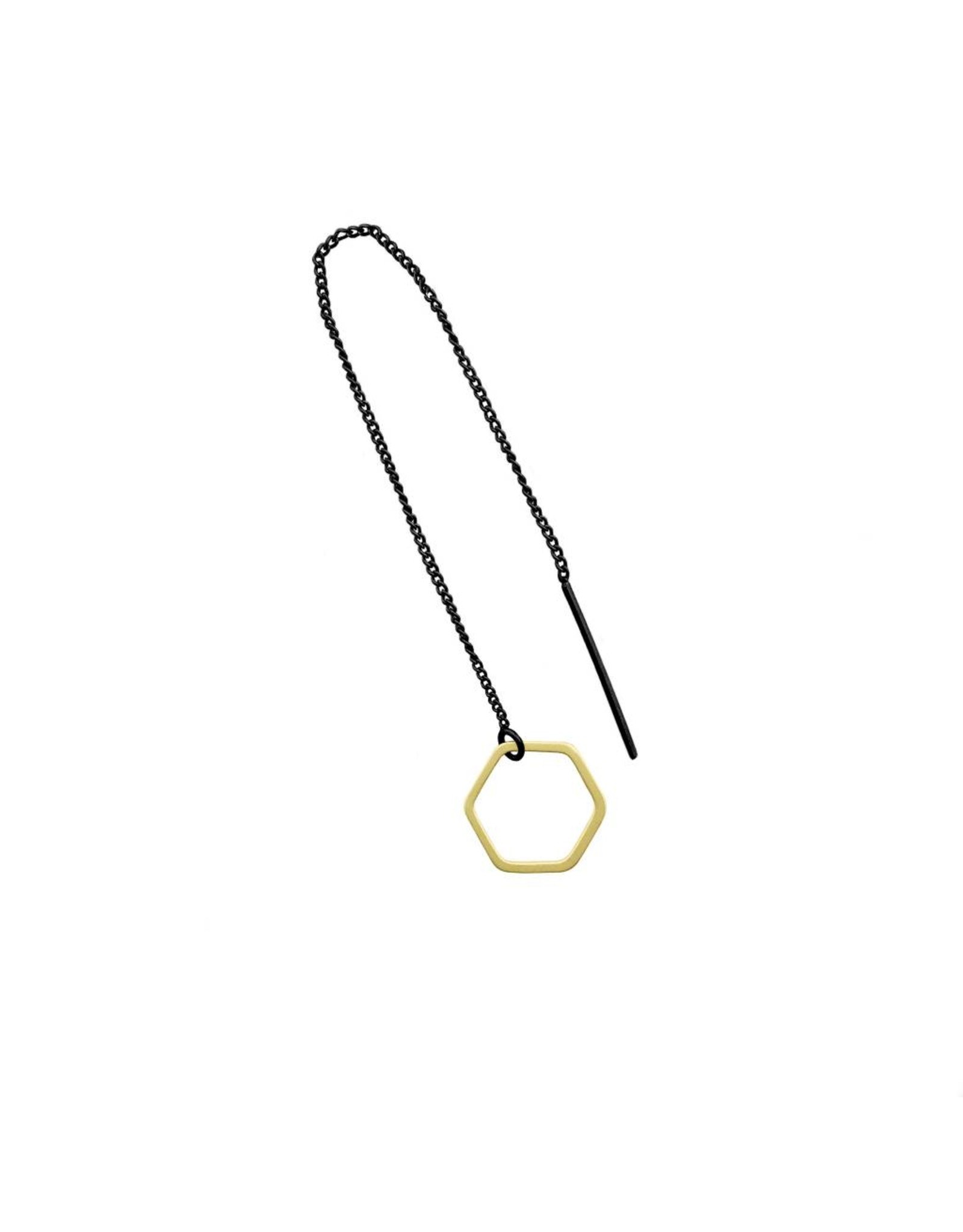oorbEllen mix&match zeshoekje open mat goud doortrekker zwart