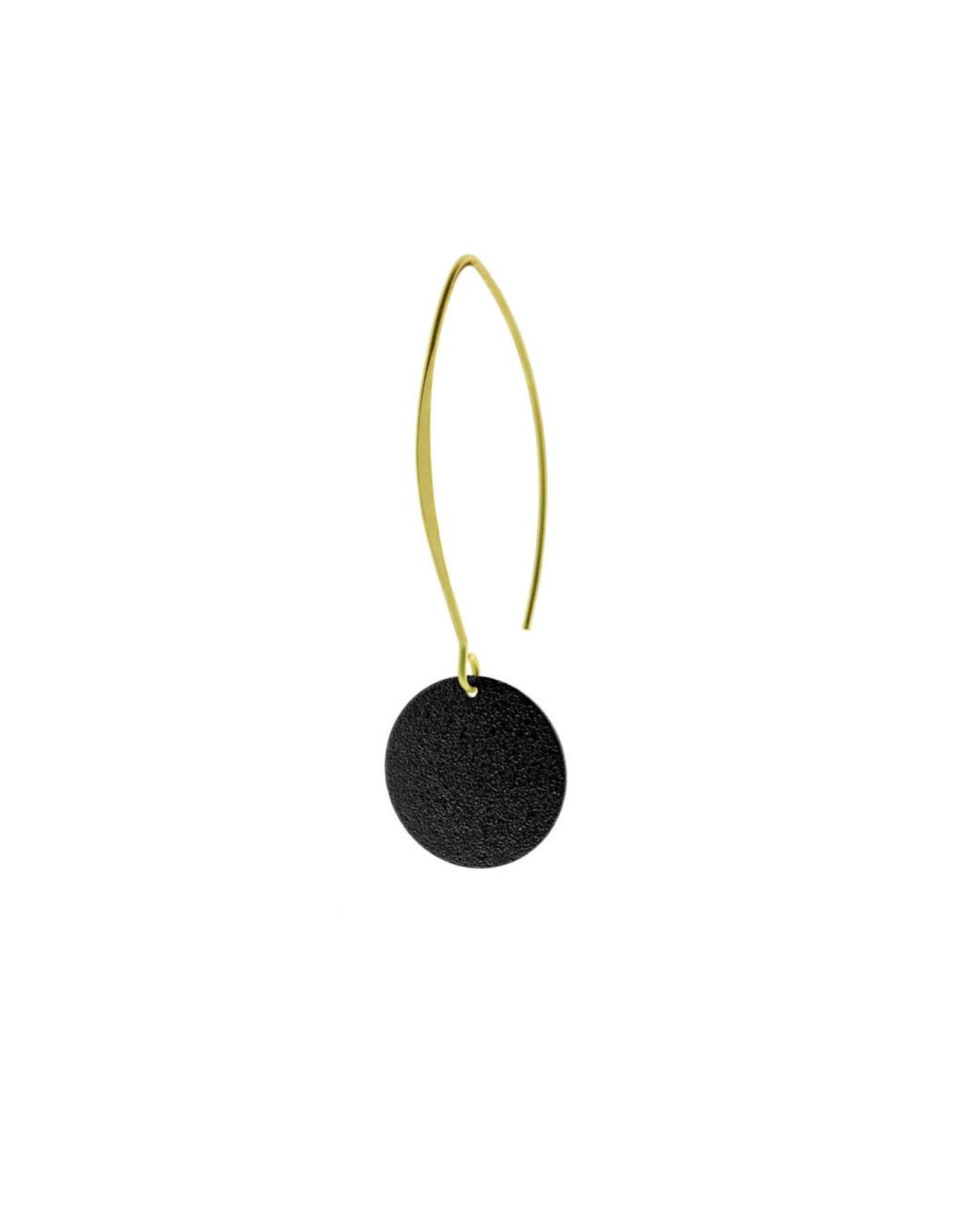 oorbEllen mix&match cirkel vol mat zwart lang goud