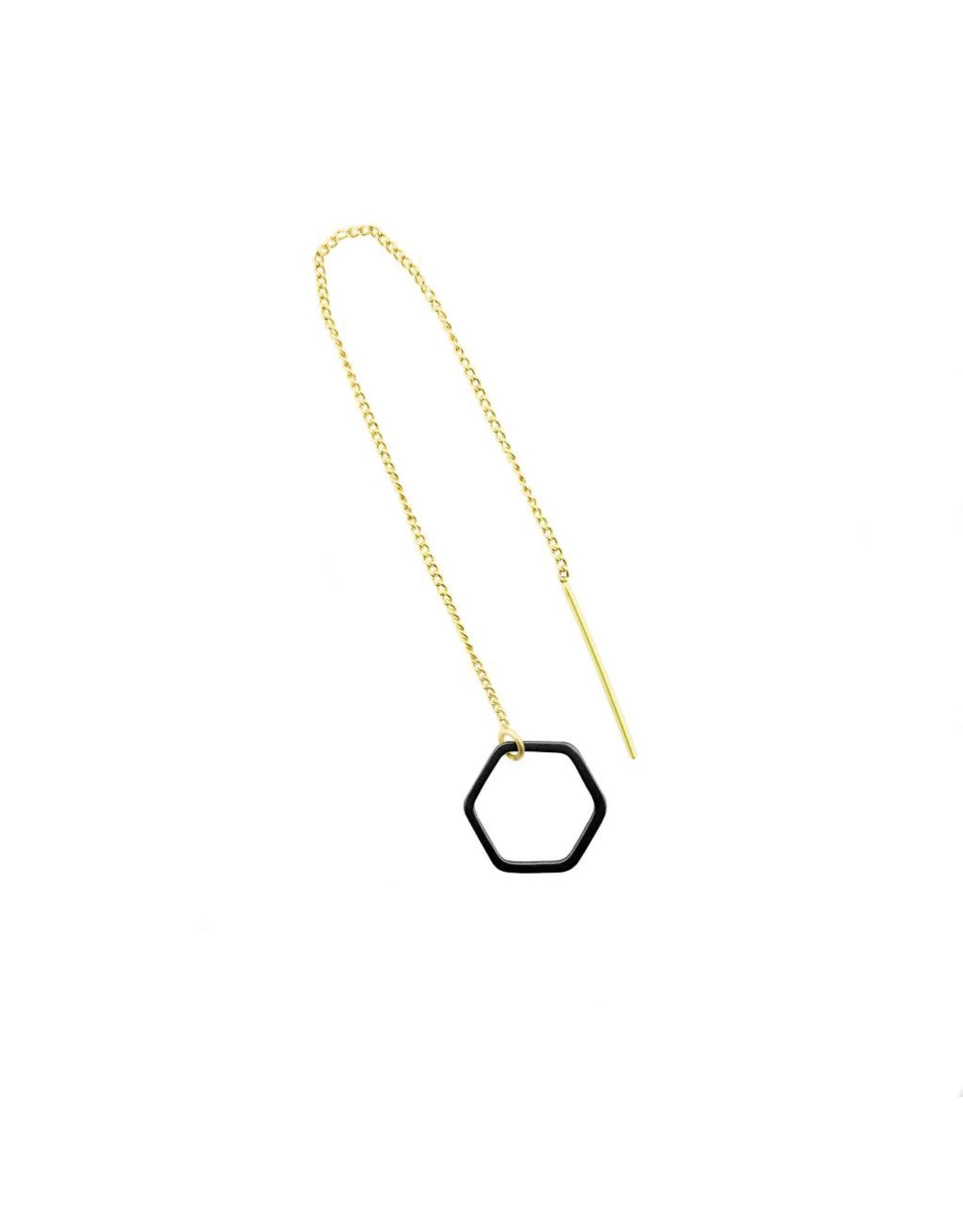 oorbEllen mix&match zeshoekje open mat zwart doortrekker goud