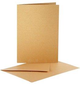 Set kaart & enveloppe 10st goudkleurig
