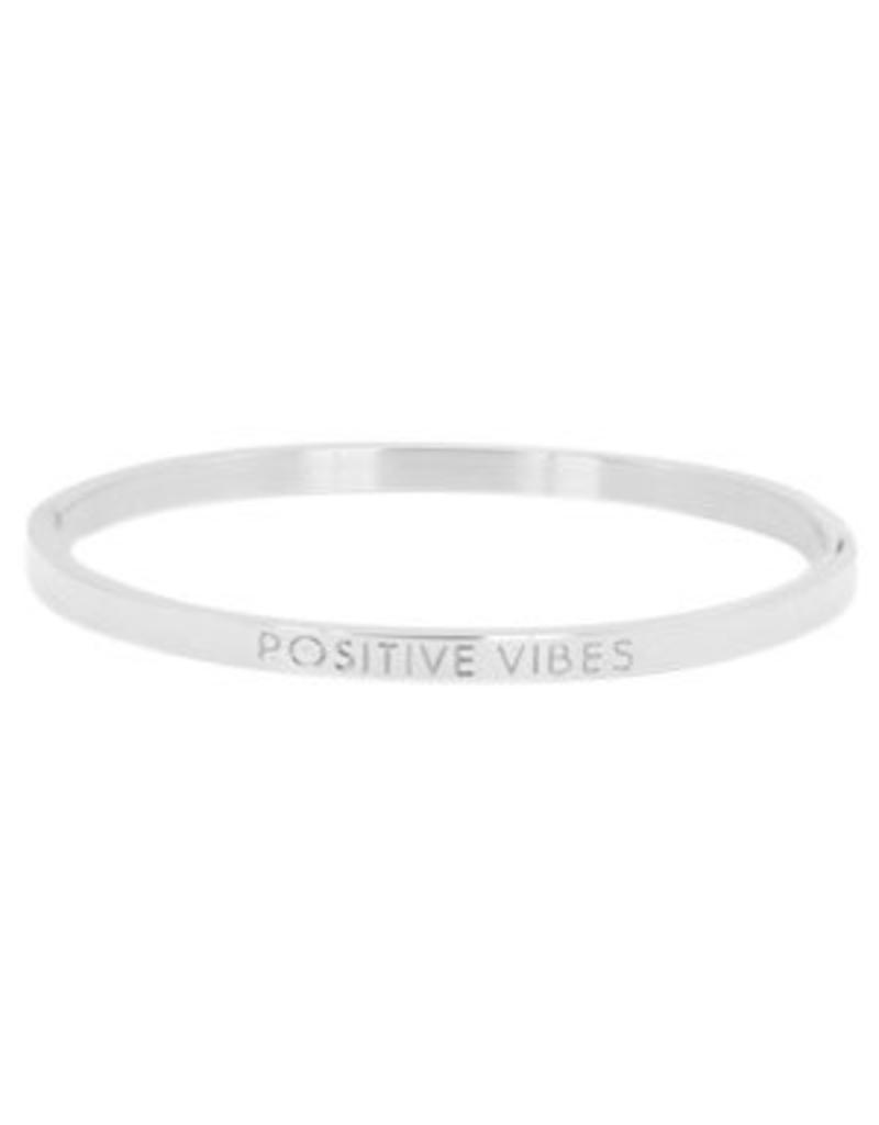 Armband RVS 'positive vibes' smal zilverkleurig