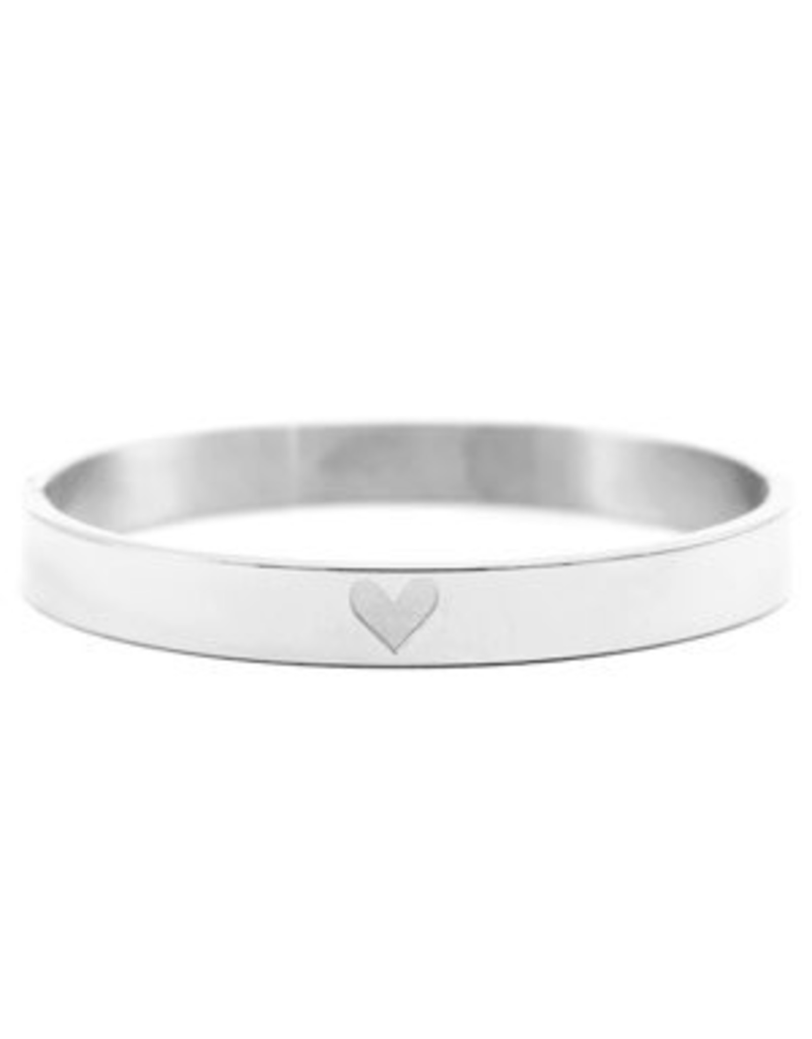 Armband RVS hart breed zilverkleurig