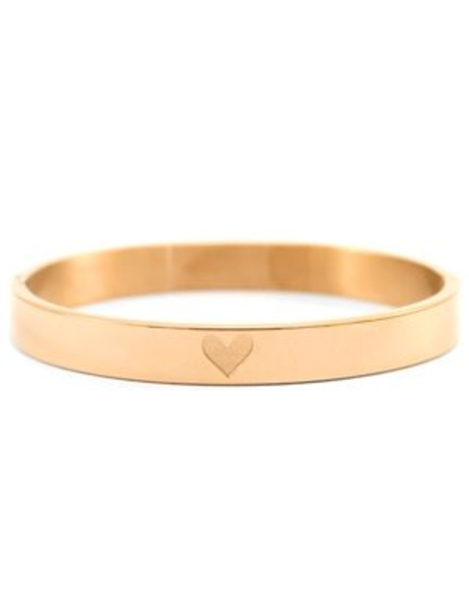 Armband RVS hart breed rose goudkleurig