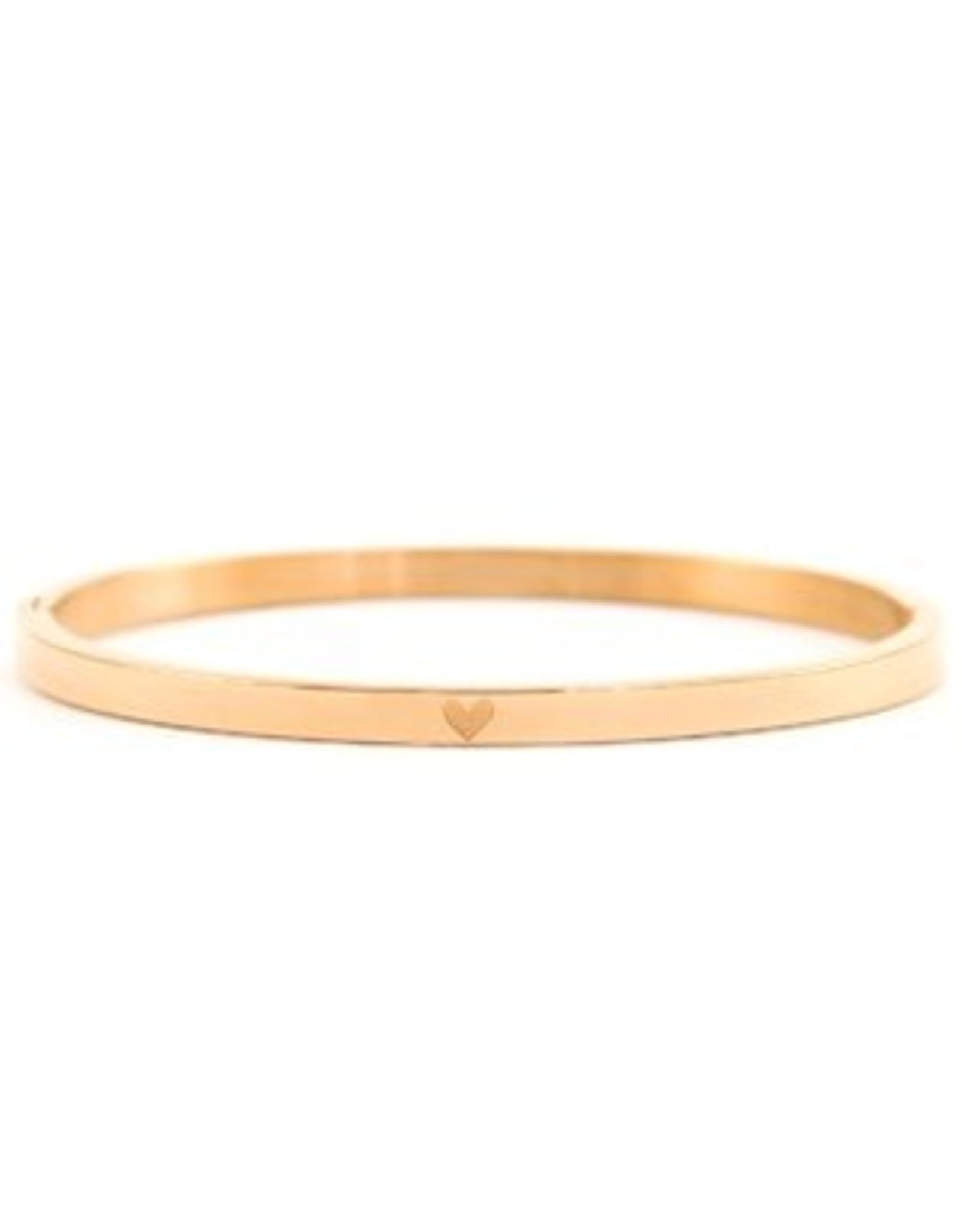 Armband RVS hart smal rose goudkleurig