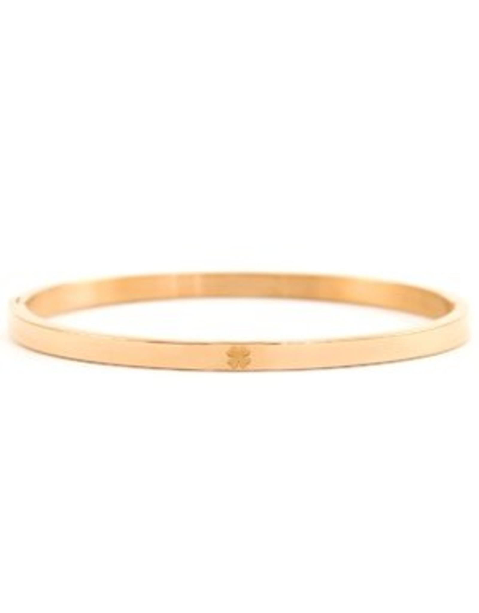 Armband RVS klavertje vier smal rose goudkleurig