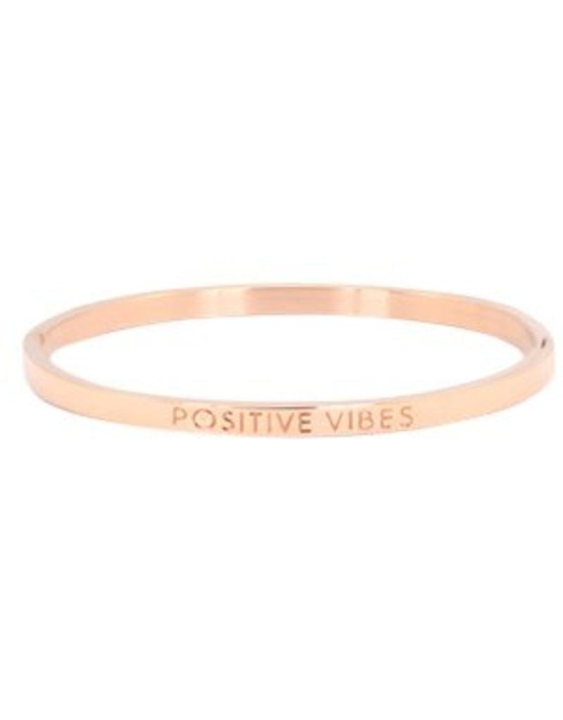 Armband RVS 'positive vibes' smal rose goudkleurig