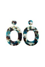 oorbEllen acryl 12mm turquoise rond breed