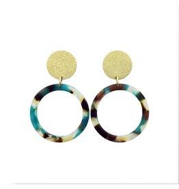 oorbEllen acryl 20mm goud cirkel turquoise