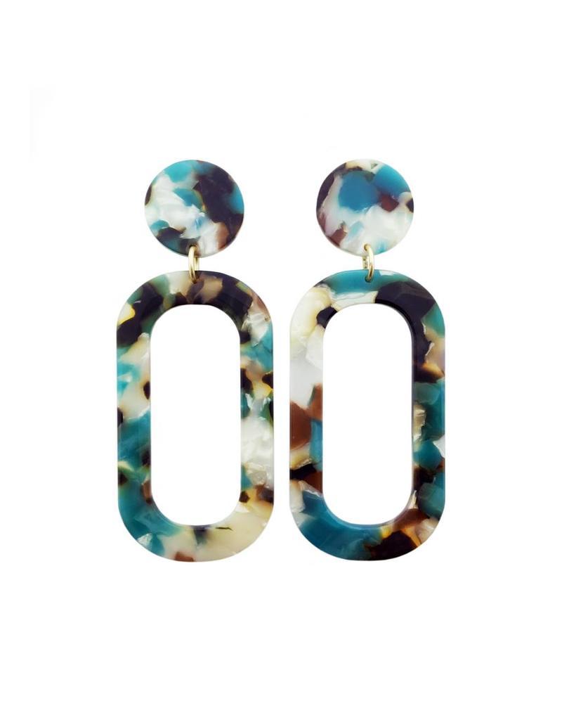 oorbEllen acryl 20mm turquoise lang