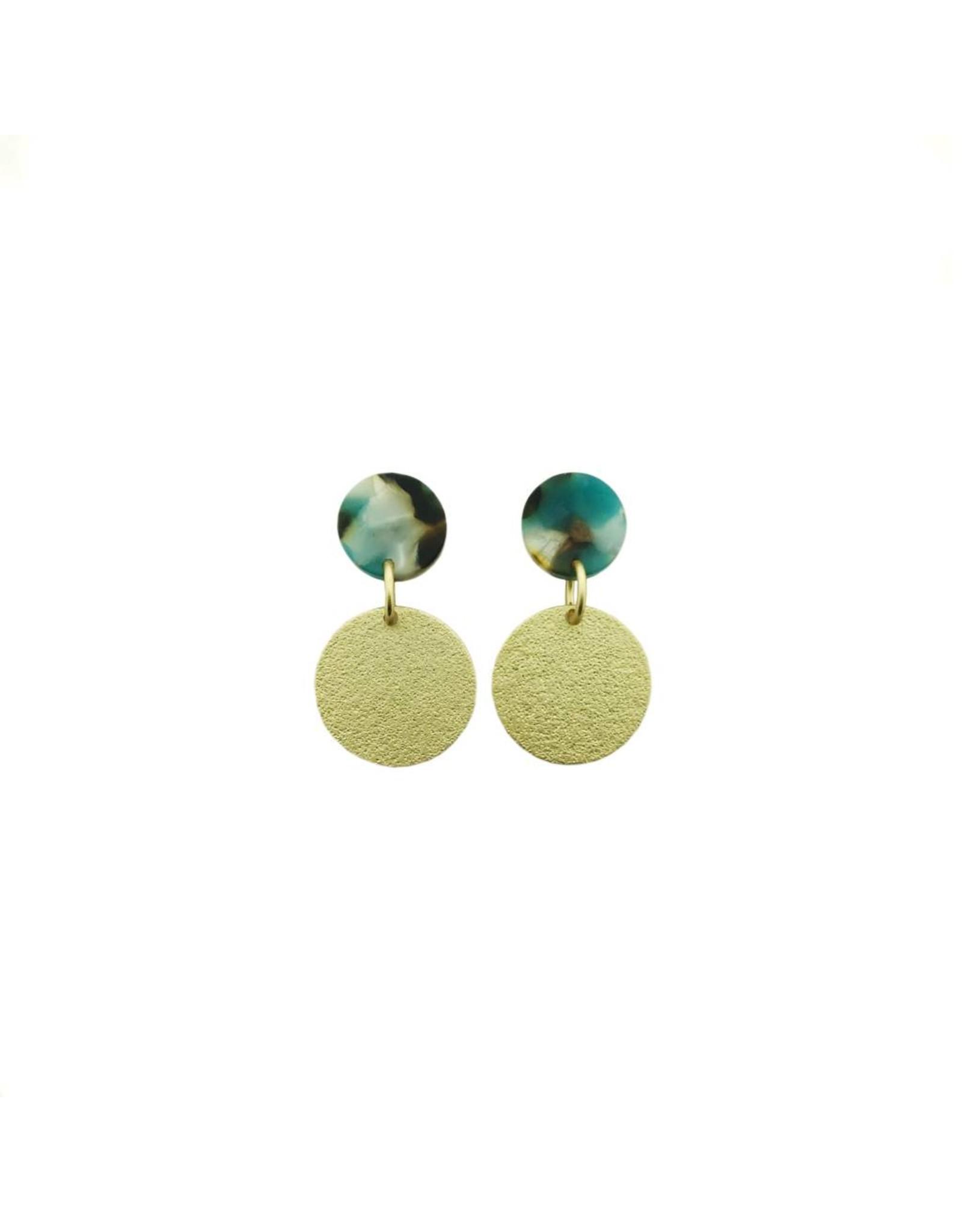 oorbEllen acryl 12mm turquoise volle cirkel