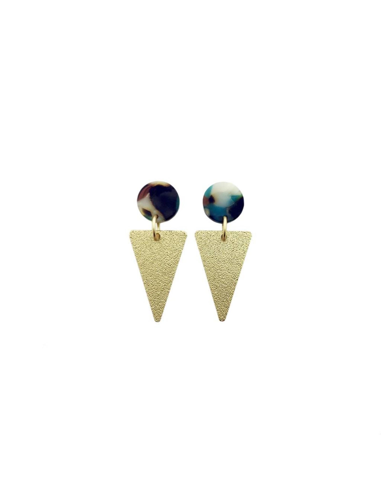 oorbEllen acryl 14mm turquoise triangle