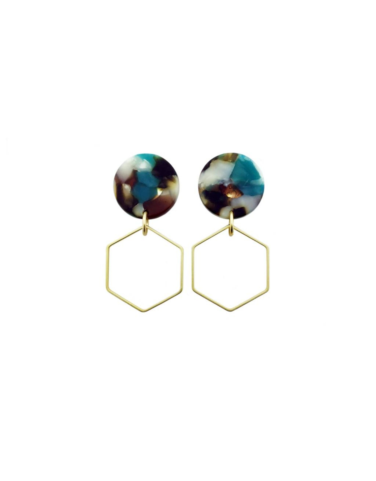 oorbEllen acryl 20mm turquoise zeshoek